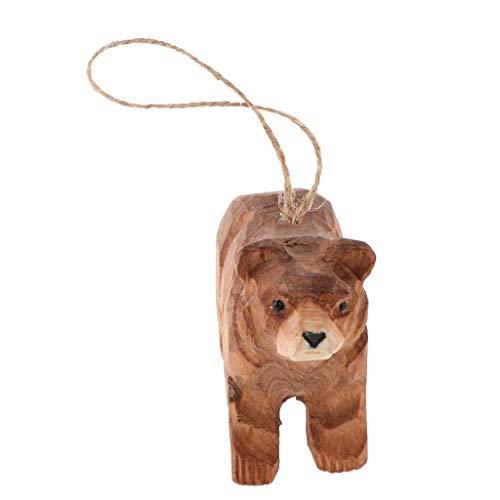 Inzopo geschnitztes Tier-Ornament aus Holz, 3D-Wildtier-Modell, handgefertigt, zum Aufhängen, Holzfiguren, Skulptur, Holzornament, Dekor, Handwerk mit Schnur – brauner Bär, 9,3 x 3,5 x 6,5 cm