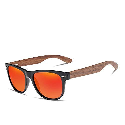 Wijider Sonnenbrille Herren,Handgemachte Schwarze Walnuss Sonnenbrille Herren Holzbrillen Frauen Polarisierten Spiegel Vintage Square Oculos De Sol E.