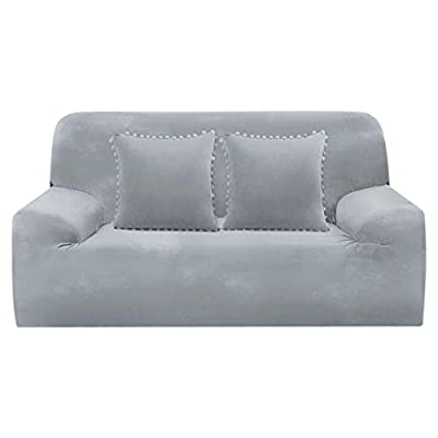 PiccoCasa Sofa Cover for 3 Cushion Couch, Stretch Velvet Couch Covers + Two Decorative Pillow Covers, Sofa Slipcover Furniture Protector for Living Room (Sofa-3 Seater, Gray)