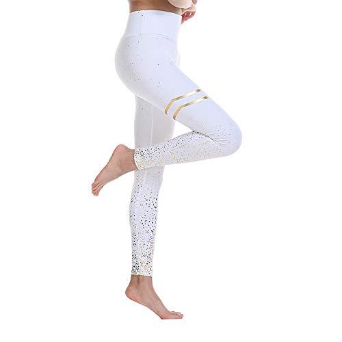 BESIDE STAR 2 Piezas Mallas de Deporte de Mujer, Leggins Pantalon Deporte Yoga, Leggings Mujer Fitness Suaves Elásticos Cintura Alta para Reducir Vientre Blanco L