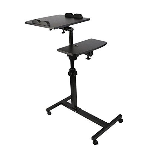 TataYang Laptoptisch Rolltisch Betttisch Notebooktisch Beistelltisch höhenverstellbar Ständer für Linkshänder Sofatisch mit Rollen und drehbar Ablage für Maus mit 2 Stopp-Leisten, Holz (Schwarz 2)