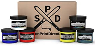 Ecotex Primary Ink Color KIT - Plastisol Ink for Screen Printing 6 Colors - 8 Oz Bottles