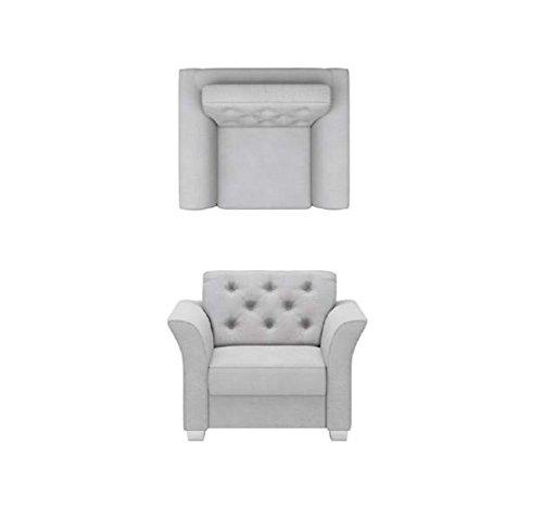 BMF KENEDY - Sillón de calidad de 1 plaza en tela o piel sintética, diseño clásico, estilo CHESTERFIELD