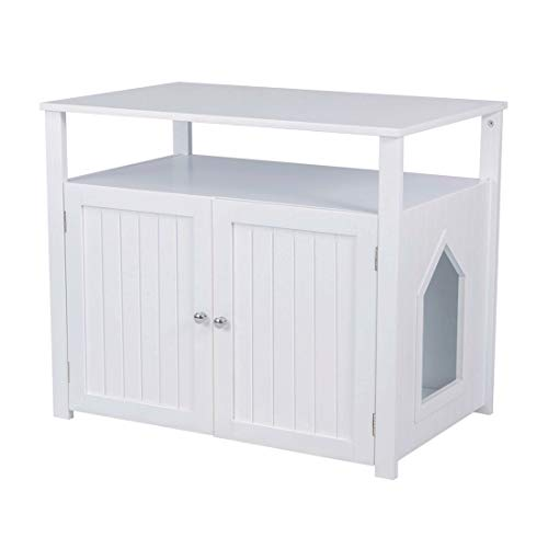 Good Life Double-Door Pet Crate Cat Washroom Hidden Cat Litter Box Enclosure Furniture Cat House Right Side Entrance with Table Home Nightstand Large Box White Color