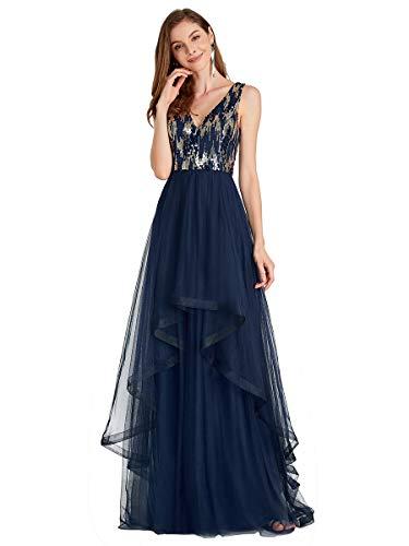 Ever-Pretty Damen V-Ausschnitt Ärmellos Tüll Lang Elegant Abendkleider Con Pailletten Navy Blau 36