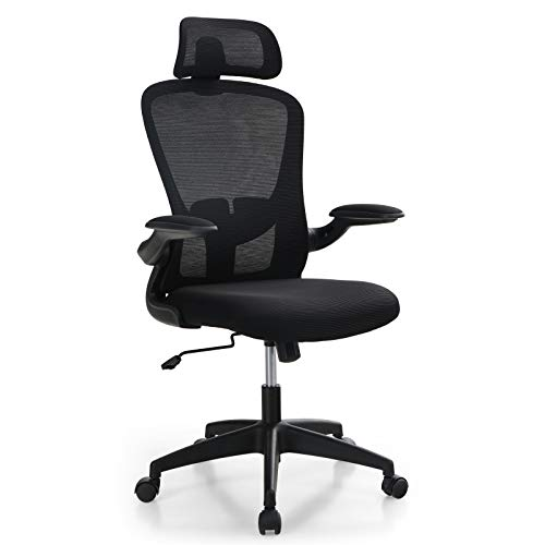 ALPHA HOME Ergonomic Office Chair Mid Back Computer Desk Chair with Flip-up Tufted Armrest Executive Adjustable Mesh Chair with Lumbar Support & Headrest Rolling Swivel Chair -Capacity 350LBS