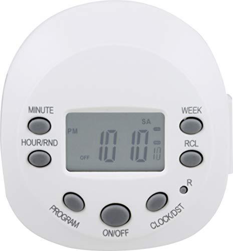 GE 7-Day Programmable Digital Timer, 1 Outlet Grounded, Plug-In Indoor, LED, CFL, Incandescent, Ideal for Lamps, Portable Fans, Seasonal Lighting, Appliances, 15150