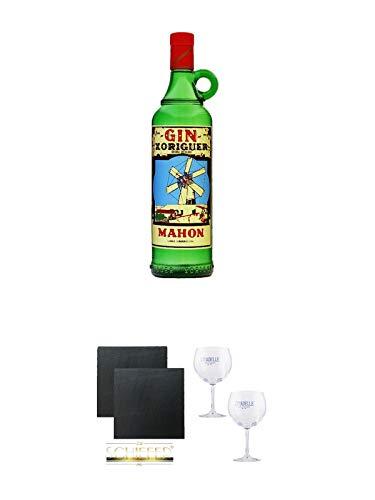 Gin Xoriguer Mahon Gin 0,7 Liter + Schiefer Glasuntersetzer eckig ca. 9,5 cm Ø 2 Stück + Citadelle Ballon GIN Glas 2 Stück
