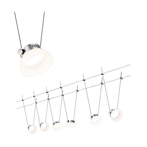 Paulmann 941.13 Seilsystem IceLED1 Set erweiterbar Warmweiß 6x4W LED Chrom matt 94113 Seilleuchte Hängeleuchte