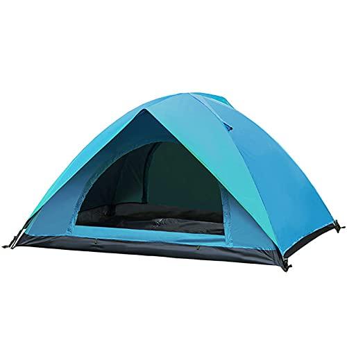 Jtoony Tienda de campaña para exteriores para 2 personas, impermeable, doble capa, protección UV, toldo para camping, senderismo, tienda de campaña (tamaño: 205 x 155 x 115 cm, color: azul)