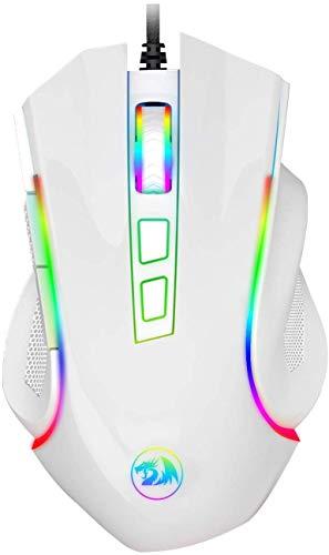 Redragon M602AWA RGB Gaming Maus mit 7200 DPI, 4000 FPS 10G, 1000 Hz Abfragerate, 5 Speichermodi, Griffin Omron Mikroschalter für PC Games (Weiß)