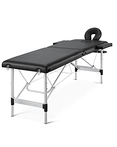 Massage Table Portable Massage Bed Professional Facial Bed SPA Bed Height Adjustable with Carrying Bag 2 Fold