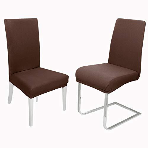 DecoHomeTextil Universal Stretch Uni Stuhlhusse Stuhlhussen Husse Hussen 6er Set Braun Farbe und Set Größe wählbar Stuhlbezug Stuhlüberzug Elastisch