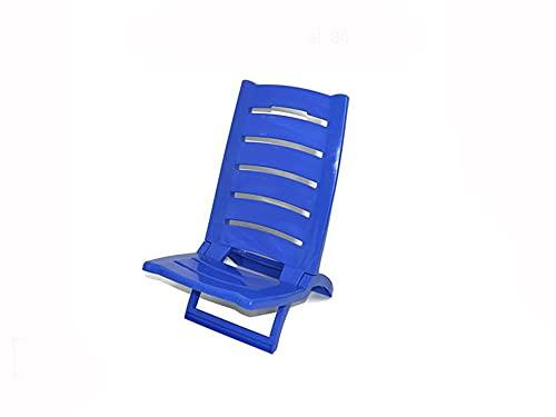 Vetrineinrete® Spiaggina da mare bassa in plastica sedia pieghevole da spiaggia e campeggio 60 x 37 cm (Blu)