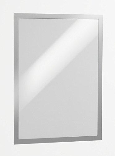 Durable 487323 Info-Rahmen Duraframe (A3, selbstklebend mit Magnetverschluss) 2 Stück Silber
