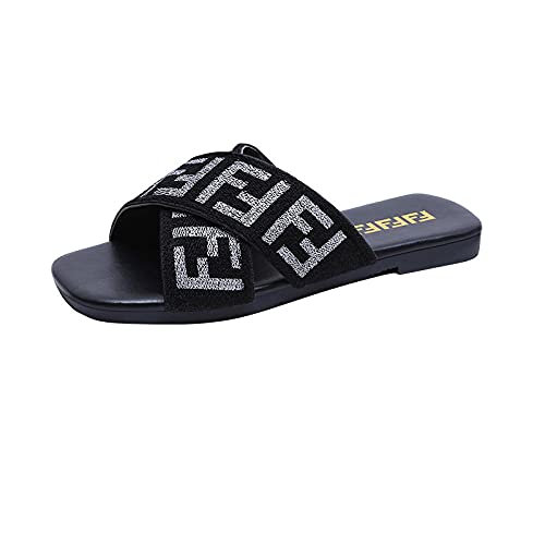 MDCGL Zapatillas De BañO Sandalias con Chanclas de Fondo Plano de Verano para Mujer, Zapatillas de baño para niña, Zapatos Impermeables para la Ducha, Plateados EU38