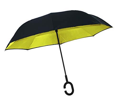 Paraguas amarillo invertido plegable