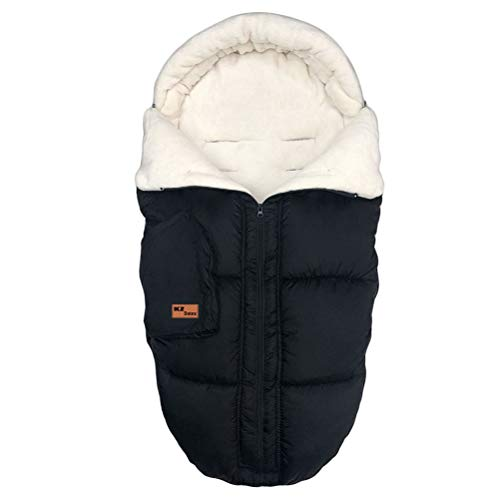 KZ Dotnz Multifunction Stroller Footmuff, Front Panel Removeable Stroller Sleeping Bag, Adjustable Length Baby Bunting Bag with Soft Hood, Cosy Toes Fleece Lined Footmuff Sack