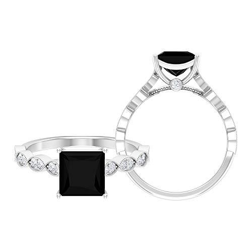 Anillo de diamante negro creado en laboratorio de 1,95 quilates, D-VSSI Moissanite Gold Anillo, anillo de compromiso de 7 mm de corte princesa, 18K Oro blanco, Size:EU 57