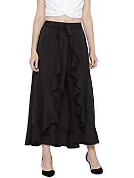 Berrylush Black Solid Ruffled Flared Maxi Skirt with Attached Trousers for Women