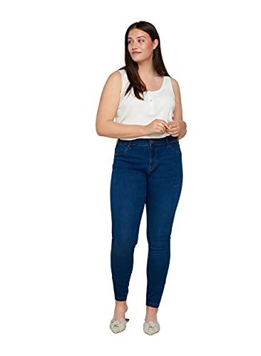 Zizzi Große Größen Damen Baumwolljeggings mit Stretch Gr 50-52 Blau