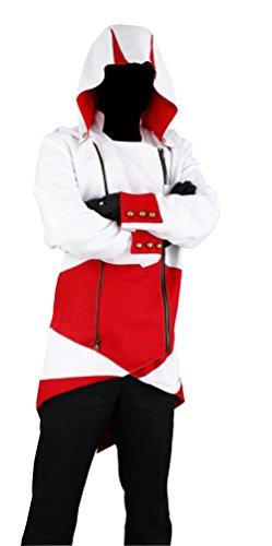 Cos2be Hoodie Jacket Coat(White&Red,Men-L)