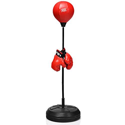 GOPLUS Punchingball Höhenverstellbar(120-154cm), Standbox, Fightball Set, Punch Boxen Set inkl. Boxhandschuhe und Handpumpe, Base zum Befüllen mit Wasser oder Sand,Boxsack für Kinder und Erwachsene