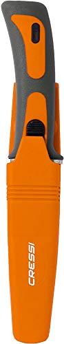 Cressi Vigo Knife Cuchillos de Buceo, Unisex-Adult, Naranja/Gris Hoja Plata, One Size