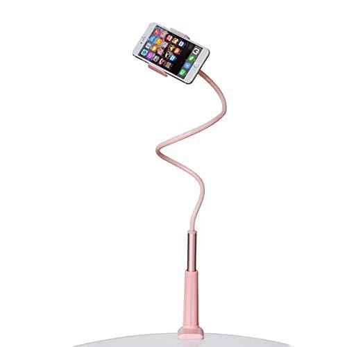 Support de Tablette et Smartphone Pliable, Support de téléphone Pliable Rotation 360° Réglable pour iPhone Series/Samsung/Huawei/Google Pixel et Plus 90 cm de Longueur Totale (Rose)