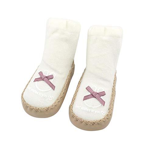 DEBAIJIA 6-36 Mois Unisexe Chaussettes Chaussures Bébés Enfant Garçon Fille Premier Pas Tissu en Coton Semelle Bord Cuir EU 17 Noeud Papillon - Blanc (Taille du tag 1)