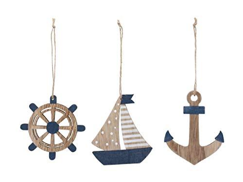 Dekosortiment Maritim zum Hängen / 6 Stück/Anker Segelboot Steuerrad / 8.5-10cm