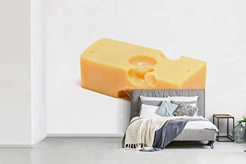Fotobehang vinyl Zwitserse kaas - Blokje Zwitserse kaas op een witte achtergrond breedte 600 cm x hoogte 400 cm - Foto print op behang (in 7 formaten beschikbaar)