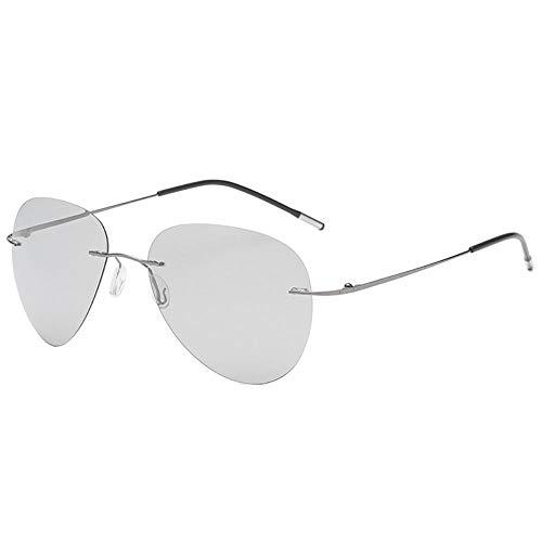 WANGJISHENG Gafas de Sol ultraligeras sin Marco Que cambian
