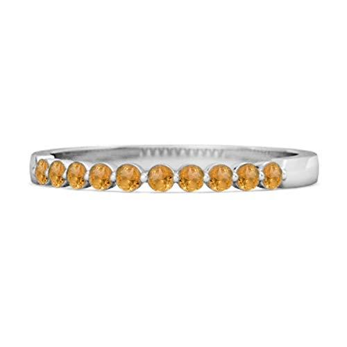 Shine Jewel Multi Elija su Piedra Preciosa 0.20 CT Natural Medio Eternidad Anillo apilable de Plata 925 (13, Citrino)