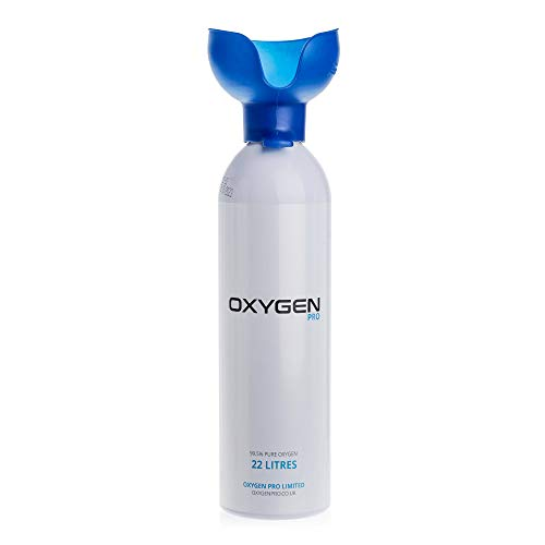 OXYGEN PRO Supplemental Oxygen Canister with Inhaler Cup - 99.5% Pure Canned Oxygen Improve Performance, Increase Endurance & Accelerate Recovery, 22 Litre Canister