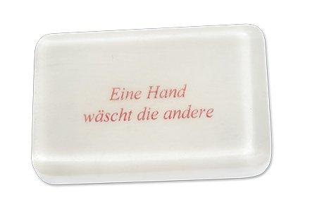 Unbekannt Hochwertige pflanzliche Seife 80g mit Spruch und Lemonduft (Eine Hand wäscht die andere)