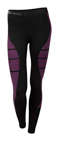 STARK SOUL Damen Seamless Ski Funktionswäsche, Outdoor Unterwäsche (L/XL Hose schwarz/pink)