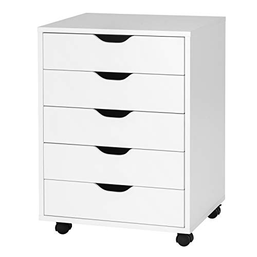 """Giantex Drawers Cabinet Mobile Lateral Filing Organizer with 5 Drawers and Wheels Mobile Side Cabinet Chest for Home Office Storage Use 5-Drawer Dresser (19"""" x 15.5"""" x 26"""", White)"""