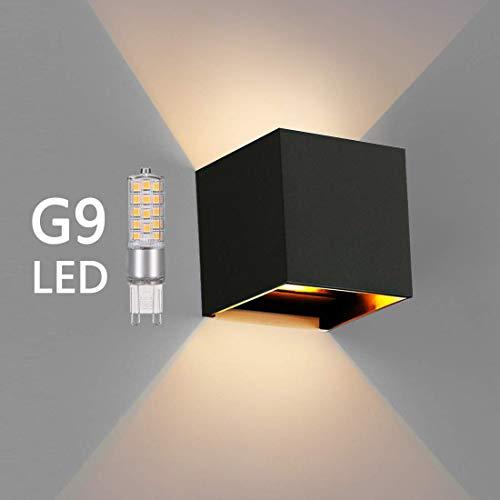 OOWOLF LED Lampada da Parete Esterna IP65 Impermeabile, Applique di G9 Sostituibile in Alluminio 3000K Bianco Caldo per Esterno ed Interno, Giardino, Portico, Bagno, Corridoio