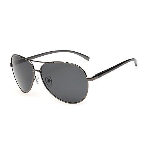 JS Premium Ultra Sleek Military Style Sports Aviator Sunglasses Polarized 100% UV protection Large Frame  Ash Grey Frame/Black Lens