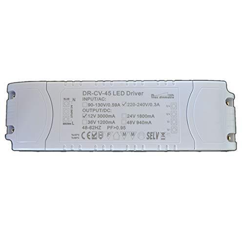 Dimmbarer LED Trafo 12V DC 1-45 Watt Netzteil dimmbar Treiber Transformator für Dimmer G4 MR16 GU5.3