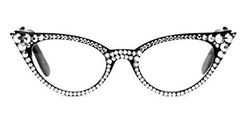 Austrian Crystal Black Cat Eye Reading Glasses Readers 50's 60's mod Swarovski (225, Black)