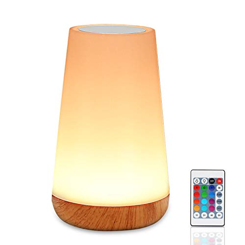 LED Nachttischlampe, Zorara LED Nachtlicht Touch Dimmbar mit Fernbedienung, Nachtlampe Kinder Stimmungslicht RGB 13 Farbwechsel Tischlampe Dimmbares Nachtlicht Baby USB Aufladbar für Kinderzimmer