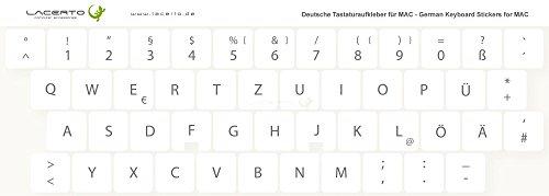 Lacerto® | 15x15mm Deutsche Tastaturaufkleber Aufkleber für Wireless iMac Tastaturen, mit mattem Schutzlaminat | Farbe: Weiß