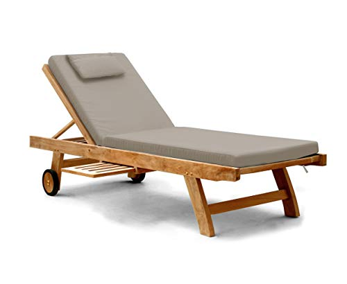 Jati Sun Lounger with Cushion from a choice of up to 5 variations Brand, Quality & Value (Taupe)