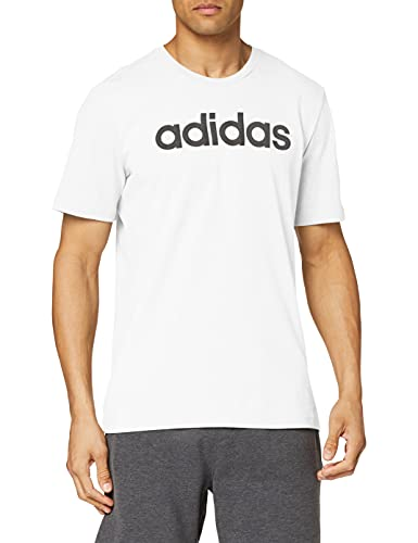 adidas Essentials Linear Logo tee Camiseta, Hombre, Blanco (White/Black), L