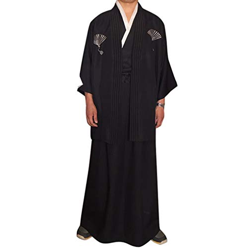 Sunlera Hombres Tradicionales Raya Samurai Ropa japonés Kimono del Traje de Cosplay del Traje