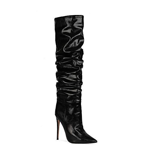 Botas de microfibra para mujer, sexy, con punta de los dedos, tacón alto, tacón alto, ligeras, largas, hechas a mano, para mujer Zwj1881, color Blanco, talla 43 EU