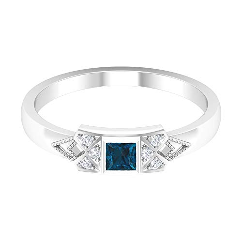 Rosec Jewels 14 quilates oro blanco round-brilliant-shape princess-shape H-I Blue Diamond Topacio azul - Londres