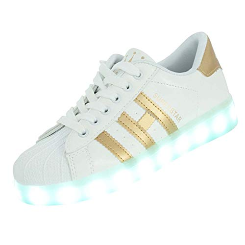 WXBYDX Scarpe con LED, 7 Colori USB Ricaricabile Light Up Sneaker, Family Style
